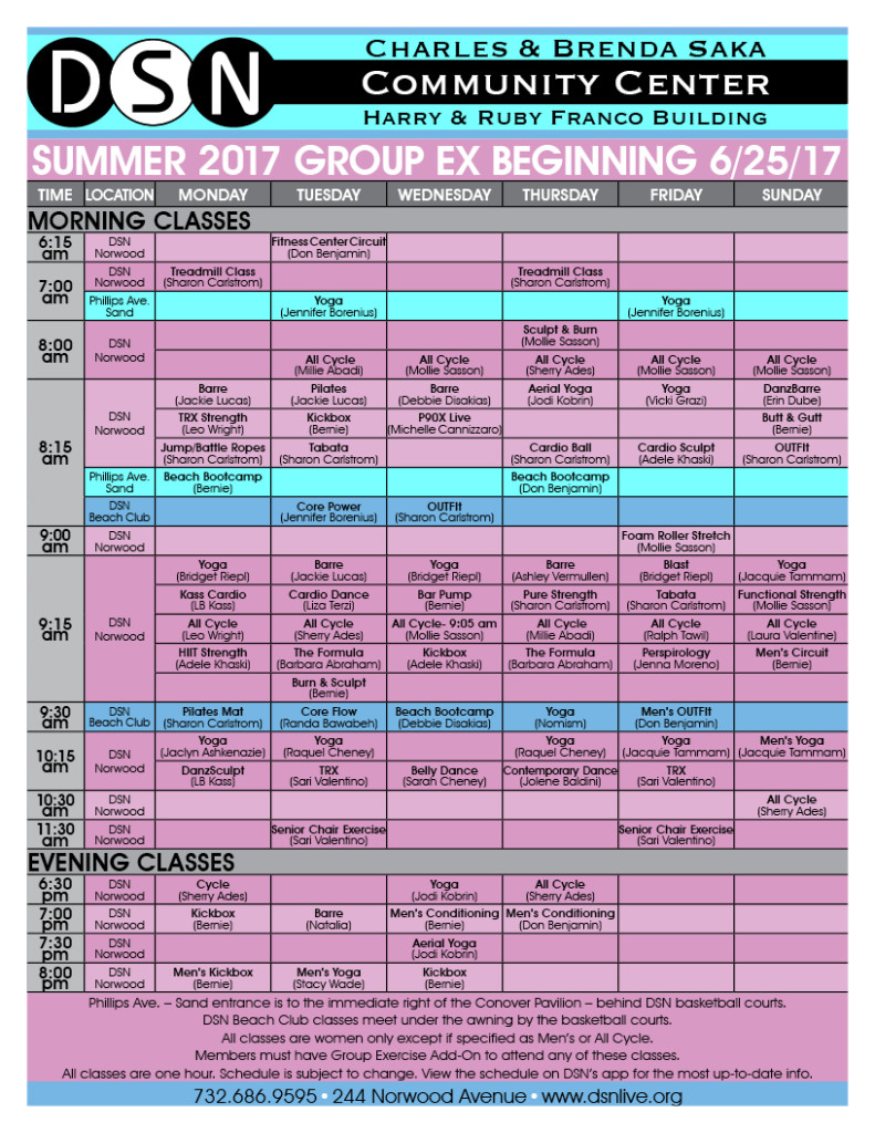 DSN Fitness Schedule- Summer 2017 2